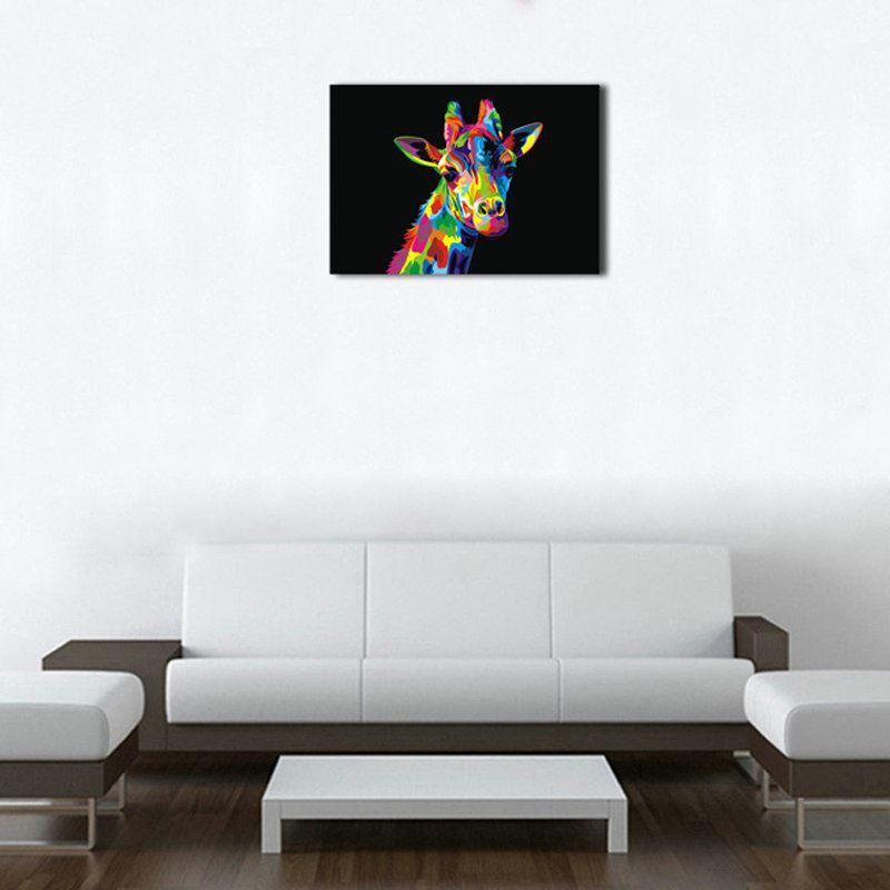 dekorative wandbilder ohne rahme giraffe f r wohnzimmer. Black Bedroom Furniture Sets. Home Design Ideas