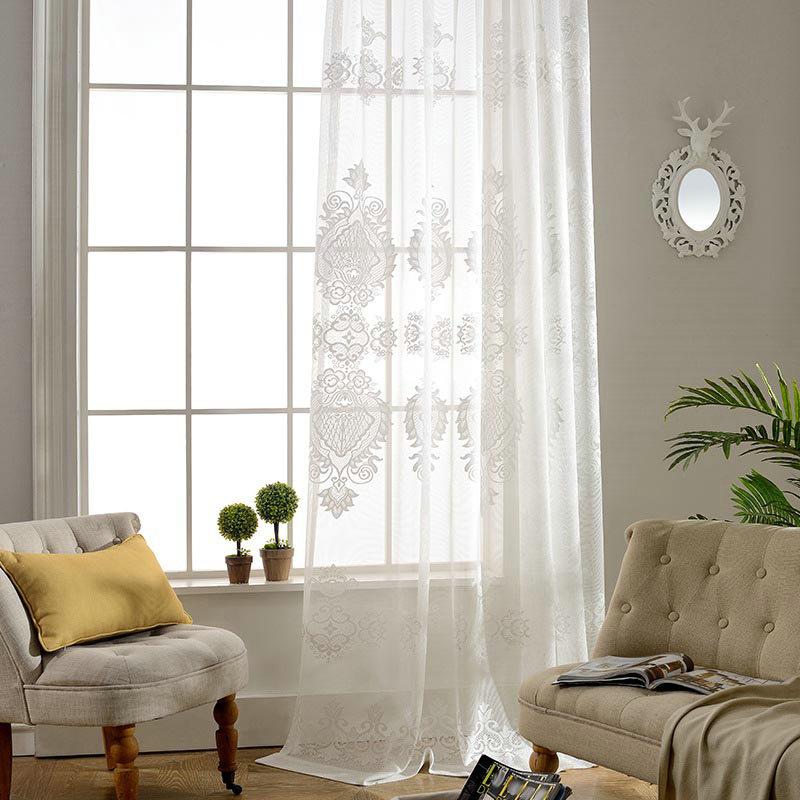 Minimalismus Gardine Weiss Blumen Design Im Schlafzimmer
