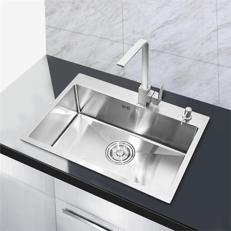 einbausp le edelstahl modern handgemacht sp lbecken f r k che 60 45cm. Black Bedroom Furniture Sets. Home Design Ideas