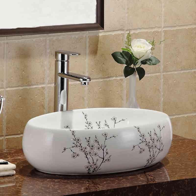 Waschbecken Weiß Keramik Aufsatzwaschbecken Oval 48cm im Badezimmer