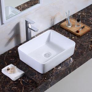 Keramik Waschbecken Weiß Aufsatzwaschbecken Eckig 48.5cm (ohne Wasserhahn)