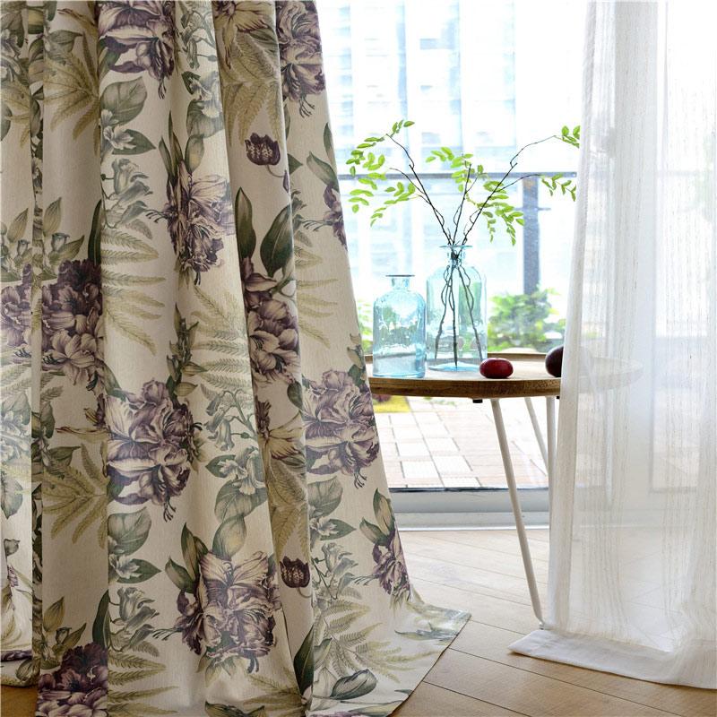 Landhaus Vorhang Magnolien Muster Design im Wohnzimmer Schlafzimmer