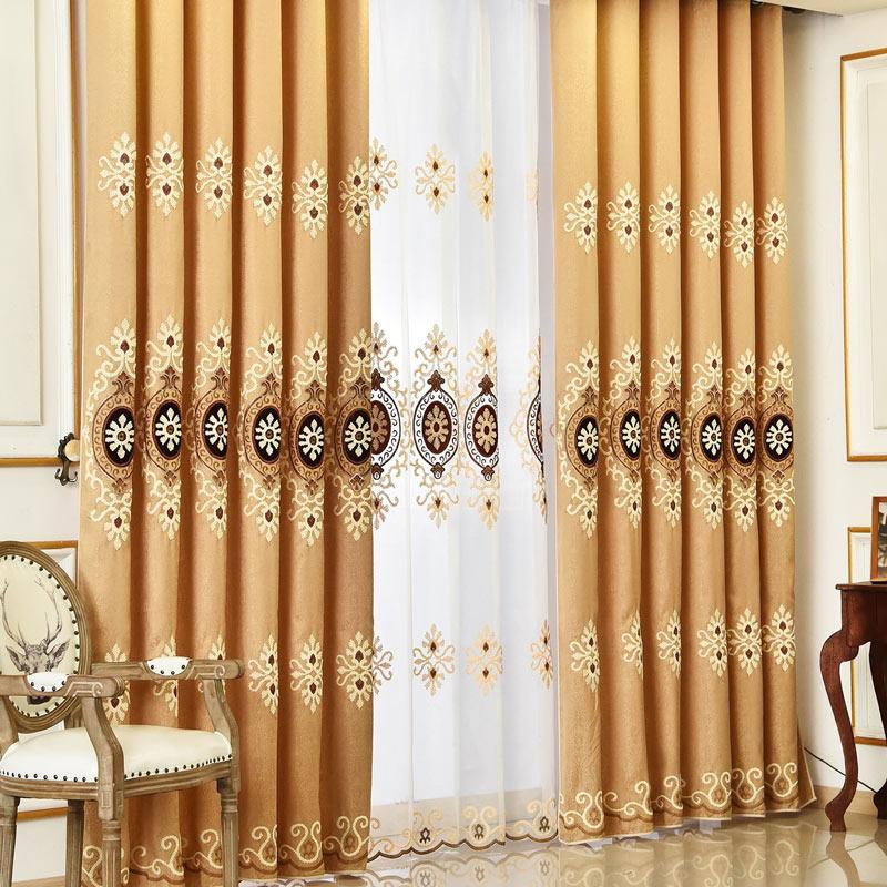 modern vorhang braun blumen stickerei im schlafzimmer. Black Bedroom Furniture Sets. Home Design Ideas