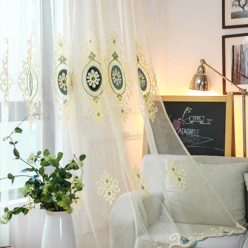 Modern Gardine Braun Blumen Stickerei Im Schlafzimmer