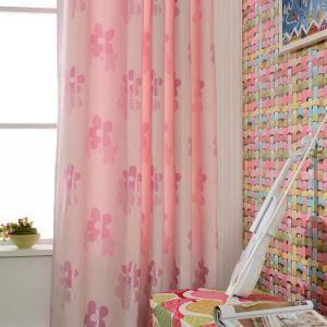 Modern Vorhang Pink Blunmen im Kinderzimmer