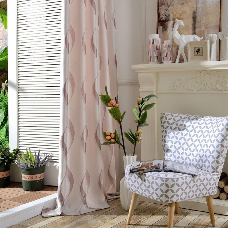 Modern Vorhang Pink Wellen Muster im Wohnzimmer