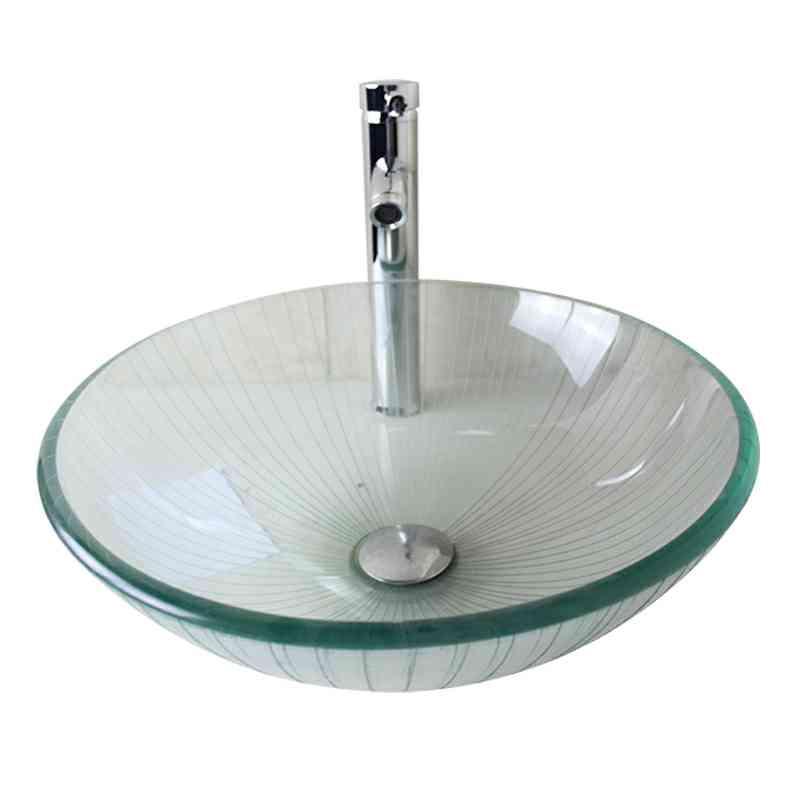 Waschbecken rund glas  Modern Glas Waschbecken Rund Transparent ohne Wasserhahn