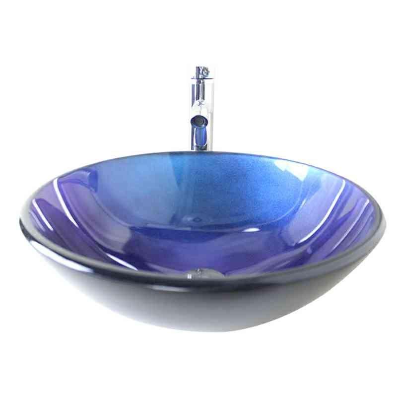 glas waschbecken modern rund blau ohne wasserhahn. Black Bedroom Furniture Sets. Home Design Ideas