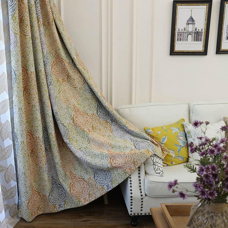 Landhaus Vorhang Farbig Muster Design im Schlafzimmer