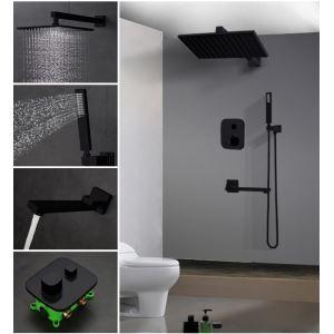 Duscharmatur Set Unterputz mit Wasserhahn in Schwarz