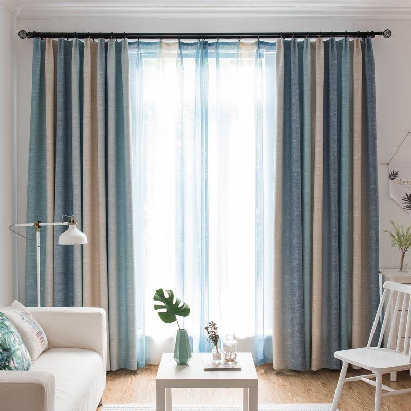 Modern Vorhang Hellblau Streifen Im Wohnzimmer
