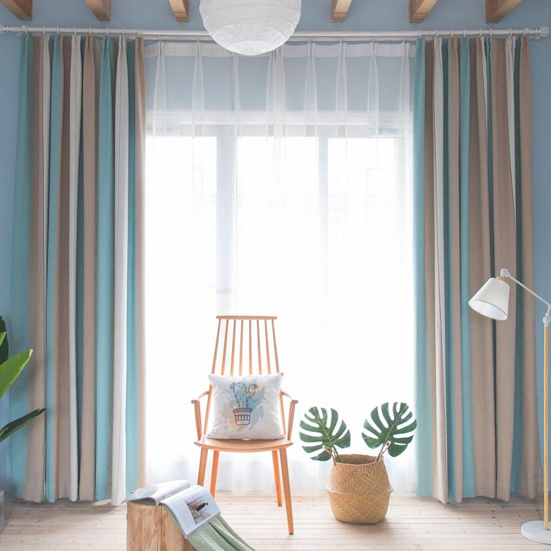 Moden Vorhang Hellblau Streifen Design Im Wohnzimmer