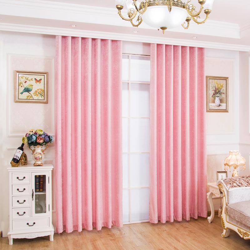landhaus vorhang uni pink aus chenille stoff sonnenschutz. Black Bedroom Furniture Sets. Home Design Ideas