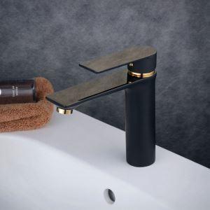 Einhebel Wasserhahn für Waschtisch in Schwarz