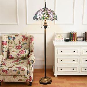 Stehleuchte Tiffany Stil Blumen Design 2 flammig im Wohnzimmer