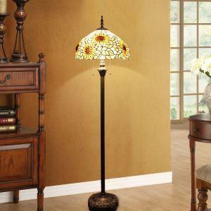 Tiffany Stehlampe Sonnenblumen Design 2 flammig im Schlafzimmer