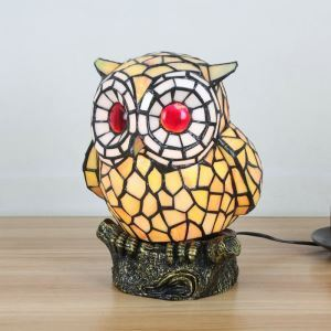 Tischlampe Tiffany Stil Eule Gestaltet in Gelb 1 flammig
