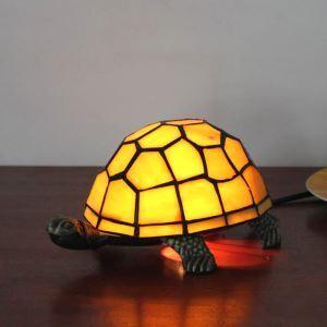 Nachttischlampe Tiffany Stil Schildkröten in Weiß 1 flammig