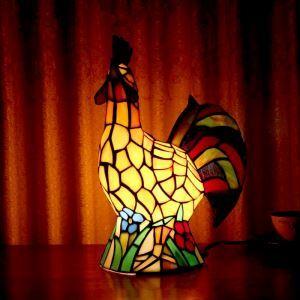 Tischleuchte Tiffany Stil Hahn Gestaltet 1 flammig