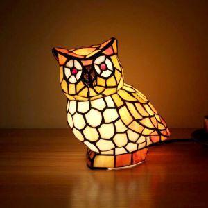 Tiffany Tischlampe Eulen Design 1 flammig im Schlafzimmer