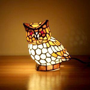 Tischleuchte Tiffany Stil Eulen Gestaltet 1 flammig
