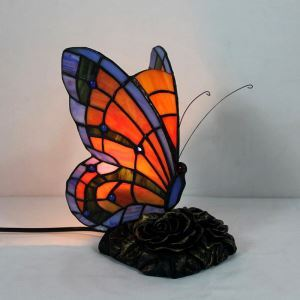 Nachttischlampe Tiffany Stil Schmetterling in Orange 1 flammig