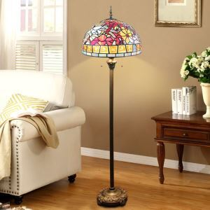 Farbenfrohe Stehleuchte Tiffany Stil Libelle Design