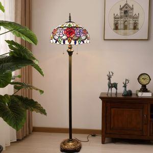 Stehleuchte Tiffany Stil Rose Design im Wohnzimmer