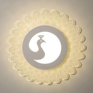 Deckenlampe Led Modern Weiß Pfau Design im Schlafzimmer