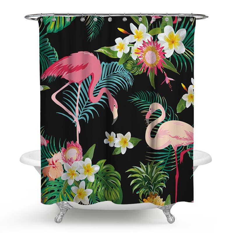 Duschvorhang von Pink Flamingo Motiv Romantischer Stil