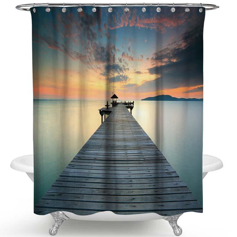 3D-Effekt Duschvorhang schöne Landschaft Stoffdruck für Duschtasse ...