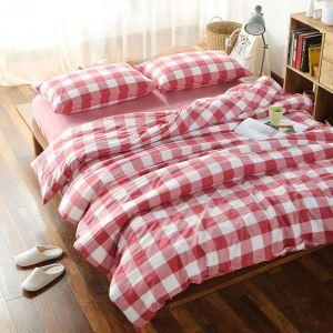 Bettwäscheset Baumwolle mit rotem Karo Muster 4-teilig