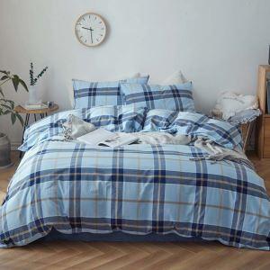 Bettwäscheset 4-teilig Baumwolle mit Streifen Muster Minimalismus