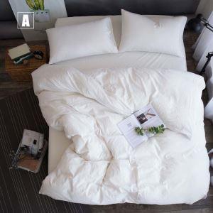 Moderne Bettwäsche-Set 4-teilig Uni Baumwolle Minimalismus