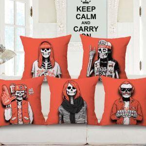 Halloween Kissenhüllen Skelett Knochengerüst Design aus Baumwolle und Leinen