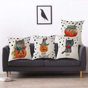 Lustige Kissenhülle Kürbis Katze Muster Halloween Thema