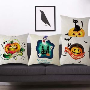 Lustig Kissenbezug Halloween Thema aus Leinen