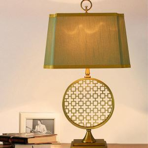 Tischleuchte aus Kupfer Ring Design mit Stoffschirm 1 flammig