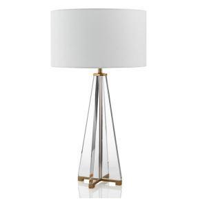 Moderne Tischleuchte mit Kristall Fuß weißem Schirm 1 flammig