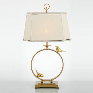 Moderne Tischleuchte mit Kupfer Fuß Ring Vogel Design 1 flammig