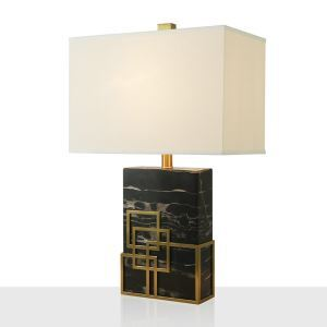 Moderne Tischlampe mit Marmor Fuß Stoffschirm 1 flammig