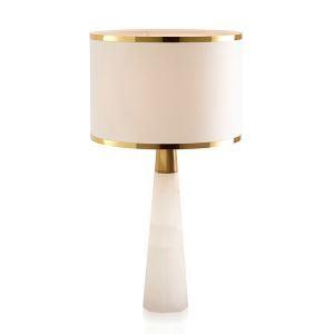 Moderne Tischleuchte mit Stoffschirm in Weiß 1 flammig