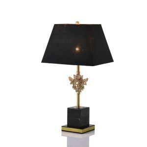 Tischleuchte Modern mit Marmor Fuß mit schwarzem Schirm 1 flammig