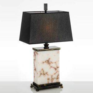 Tischleuchte Modern mit Marmor Fuß mit Stoffschirm in Schwarz 1 flammig