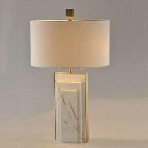 Moderne Tischleuchte aus Kupfer Marmor mit Stoffschirm 1 flammig