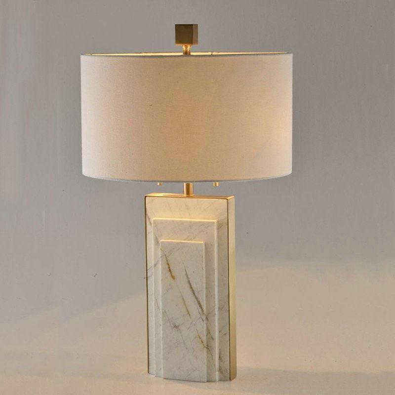 moderne tischleuchte aus kupfer marmor mit stoffschirm 1 flammig. Black Bedroom Furniture Sets. Home Design Ideas