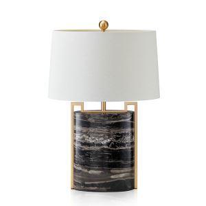 Tischleuchte Modern aus Kupfer Marmor mit Stoff Schirm 1 flammig