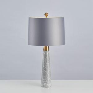 Tischleuchte Modern aus Eisen Marmor mit Stoff Schirm 1 flammig