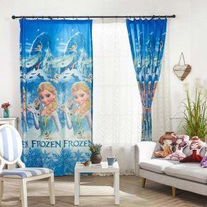Vorhang Frozen Muster in Blau im Kinderzimmer (1er Pack)