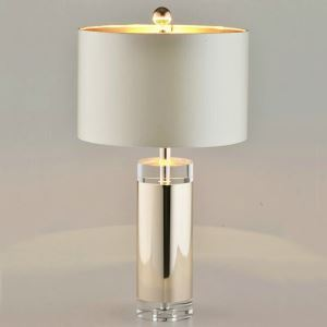 Tischleuchte aus Kristall Säule Design mit Stoff Schirm 1 flammig
